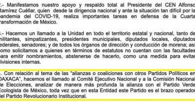Consejo de Morena en Oaxaca muestra desacuerdo de aliarse con el PVEM, por ser brazo ejecutor del PRI